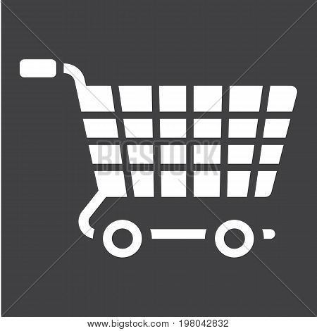 Ecommerce solutions glylph icon, seo and development, basket sign vector graphics, a solid pattern on a black background, eps 10.