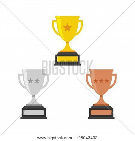 Gold Silver and Bronze Trophy Cup. Vector Flat Trophy Icon with stars.