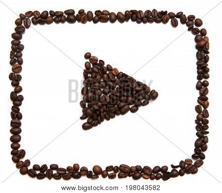 Kharkov, Ukraine - April 19, 2017: Icon of Youtube made of coffee beans on white background. YouTube is an American video-sharing website which allows users to upload, view, share and comment videos