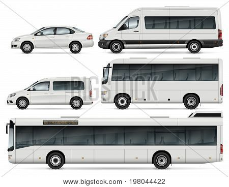 City Transport Mock-up - Buses Passenger Van and Cars. Vector Template For Car Branding And Advertising. All layers and groups well organized for easy editing and recolor. View from left side.