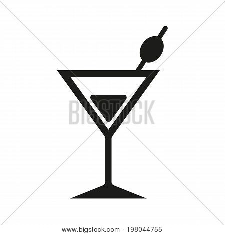 Icon of cocktail with olive. Martini, party, champagne. Beverages concept. Can be used for topics like bar, pub, alcohol