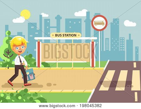Stock vector illustration cartoon characters child, observance traffic rules, lonely blonde boy schoolchild, pupil go to road pedestrian crossing, on bus stop background, back to school in flat style