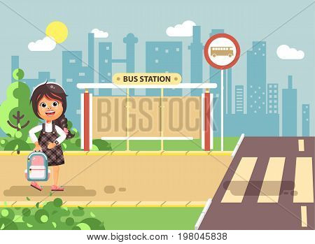 Stock vector illustration cartoon characters child, observance traffic rules, lonely brunette girl schoolchild, pupil go to road pedestrian crossing, on bus stop background, back to school flat style