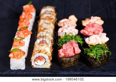 Delicious Sushi Set, Luxury Restaurant Food. Set Of Pressed Sush