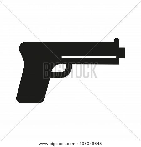 Icon of gun for personal safety. Weapon, handgun, pistol. Security concept. Can be used for topics like evidence, device, police