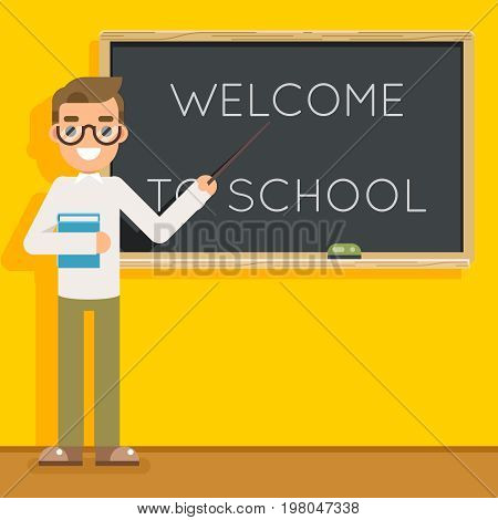 Male teacher book study pupil class student education lesson character icon classroom school board background vector illustration