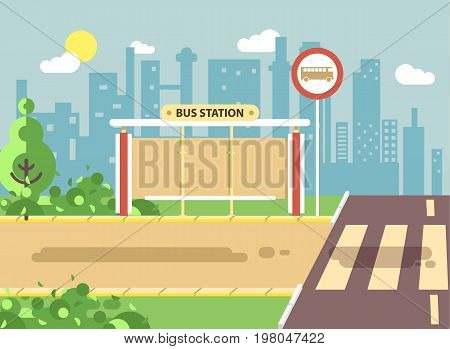 Stock vector illustration of roadside cartoon landscape with roadway, road, sidewalk and empty bus stop for school in flat style on city background element for motion design, banner, web site