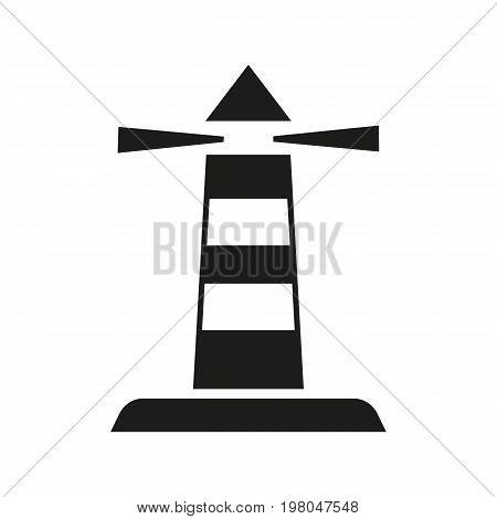 Icon of lighthouse tower. Signal, beacon, navigational aid, marine. Transportation concept. Can be used for topics like traveling, sea, building
