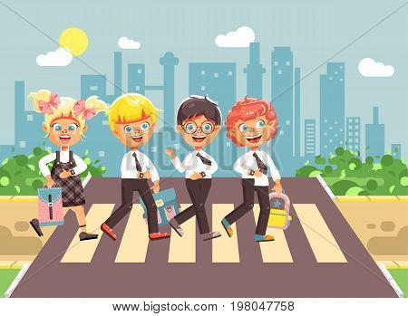 Stock vector illustration cartoon characters children, observance traffic rules, boys and girl schoolchildren classmates go to road pedestrian crossing, city background, back to school flat style