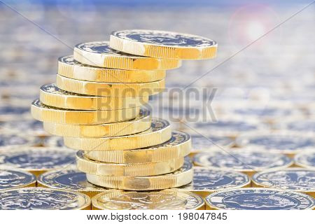 Golden Coins With Light Effects. Precarious Stack. Lens Flare.
