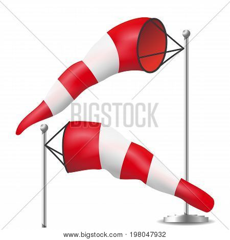 Windsock Sign Isolated Vector. Meteorology Aviation Red And White Illustration