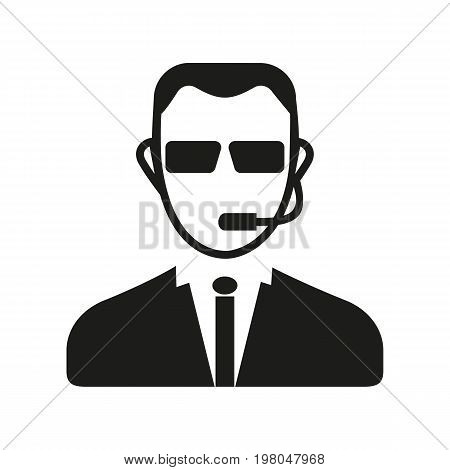 Icon of security guard. Man, headset, agent. Security concept. Can be used for topics like personal safety, protection, profession