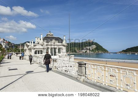 San Sebastian Spain - June 6 2017: Promenade at the La Concha bay in the city of San Sebastian Basque country Spain