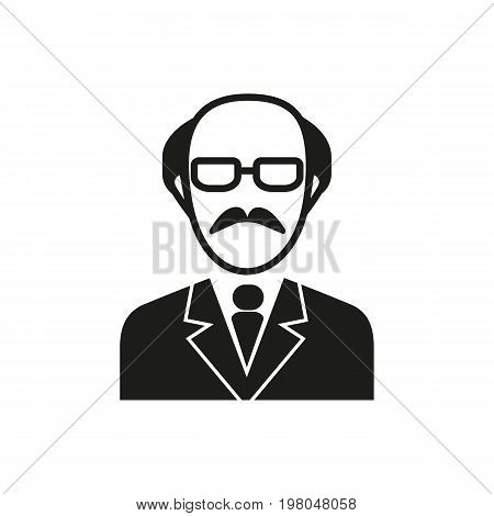 Icon of senior scientist. Man, portrait, expert. Science concept. Can be used for topics like professor, teacher, occupation