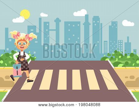 Stock vector illustration cartoon characters child, observance traffic rules, lonely blonde girl schoolchild, pupil go to road pedestrian crossing, on city background, back to school in flat style