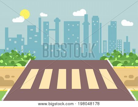 Stock vector illustration of roadside cartoon landscape with roadway, road, sidewalk and empty pedestrian zone crossing in flat style on city background element for motion design, banner, web site