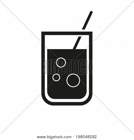 Icon of soda in glass. Cola, bubble, drink. Beverages concept. Can be used for topics like refreshment, juice, lemonade