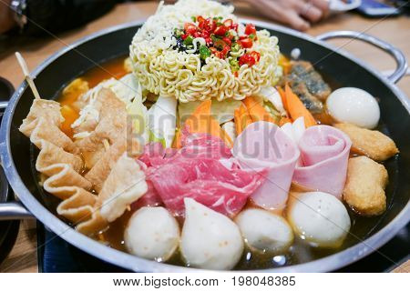 Korean Hot Pot 'budae Jjigae' Or Army Stew, A  Korean Fusion Food.