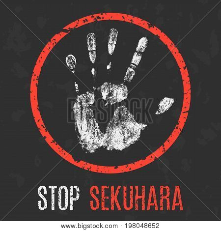 Conceptual vector illustration. Social problems. Stop sekuhara (sexual harassment in Japan).