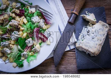 Healthy salad with gorgonzola cheese and apple