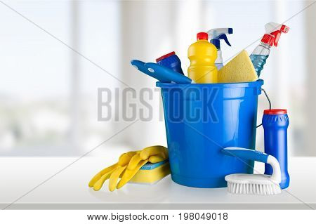 Plastic bucket gloves clean cleaning yellow group