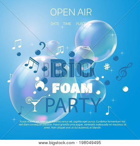 Beach Foam Party Poster Or Flyer Design Template.
