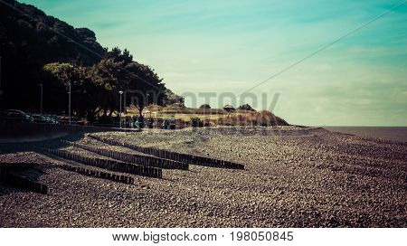 Minehead UK - July 27 2016: Shingle beach a pebble beach in Minehead UK