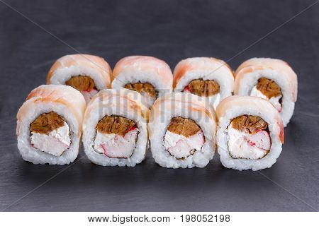Delicious Uramaki Sushi Rolls With Crab Meat, Omelet And Cream C
