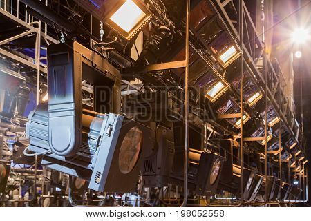 Spotlights & lighting equipment at the theater or Palace of culture.