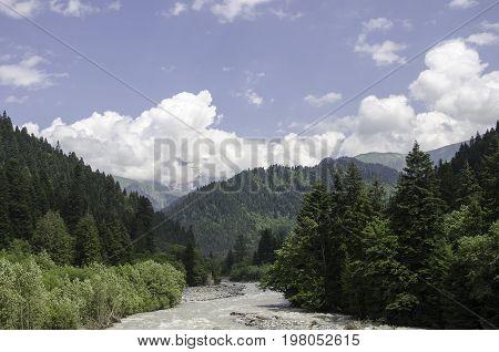 Rioni River with surrounding beaches, Oni, Georgia
