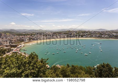 Aerial view the La Concha bay in San Sebastian. Basque country Spain