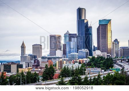seattle washington city skyline and early morning