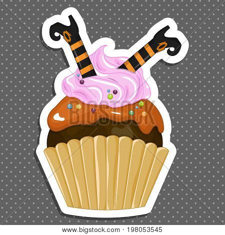 Vector illustration of a Halloween purple cupcake sticker. Happy Halloween scary sweets. Sweet boots witch.