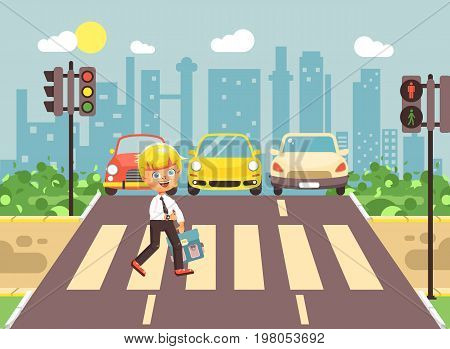 Stock vector illustration cartoon character child, observance traffic rules, lonely blonde boy schoolchild schoolboy go to road pedestrian zone crossing, city background back to school flat style