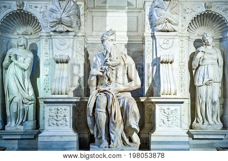 Rome Italy - October 9 2008: San Pietro In Vincoli church the Michelangelo Buonarroti's Tomb of Pope Julius II detail of the Moses statue