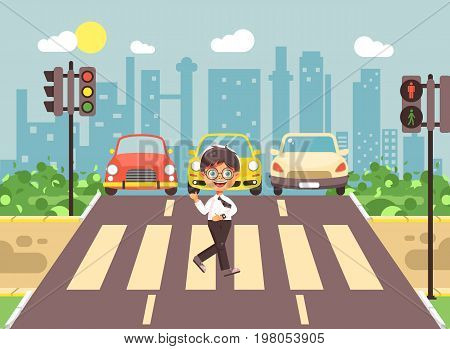 Stock vector illustration cartoon character child, observance traffic rules, lonely brunette boy schoolchild schoolboy go to road pedestrian zone crossing, city background back to school flat style
