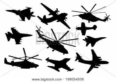 Airplane helicopter set. Military aircraft silhouette vector collection. Air transport