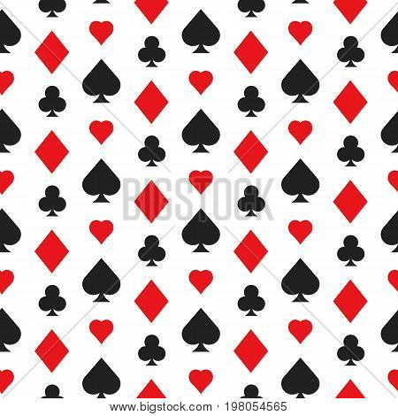 Casino poker seamless pattern with card suits. Vector illustration.