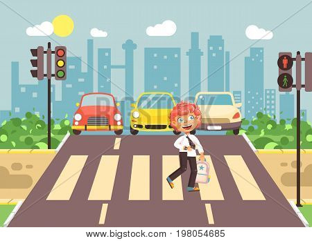 Stock vector illustration cartoon character child, observance traffic rules, lonely redhead boy schoolchild schoolboy go to road pedestrian zone crossing, city background back to school flat style