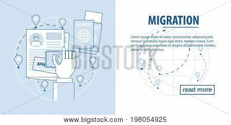 The infographic template about refugee and migrant with the world map and the different element. Refugee Emigrant series. migrant issues with documents and approval of a new residence