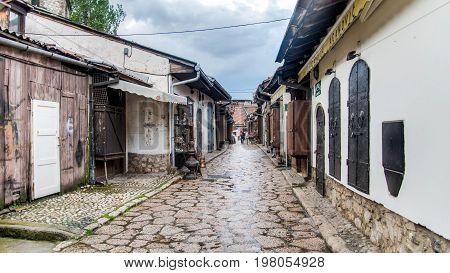 SARAJEVO, BOSNIA AND HERZEGOVINA - May 1 2014: Street with shops selling souvenirs at Bascarsija in the old city district