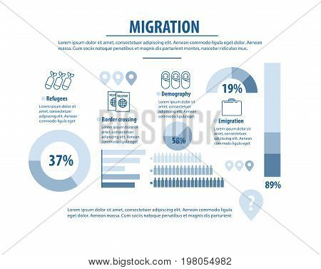 infographic refugee migration. Refugees immigration concept.Vector illustration
