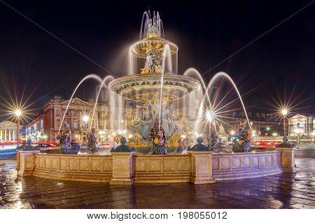 Fountain  on the Place de la Concorde in night lighting. Paris. France.