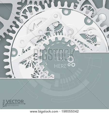 Abstract  Clockwork Mechanism. White Gears With Centre On The Gr