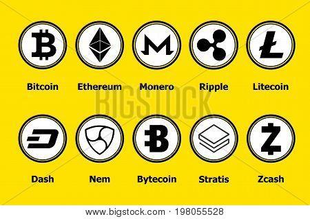 Criptocurrency blockchain icons a yellow background. Set virtual currency.Vector trading signs: bitcoin ethereum monero ripple litecoindash nem bytecoin stratis zcash.