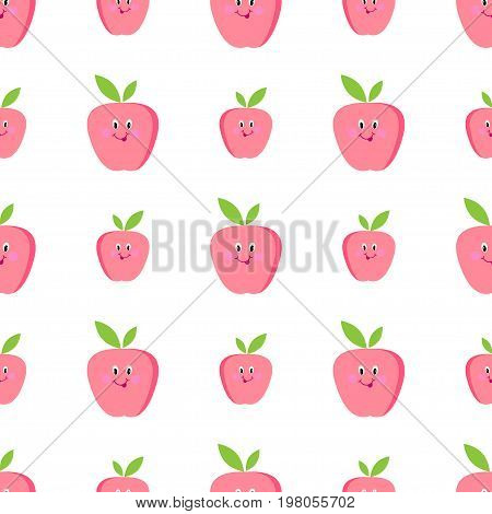 Cute apples cartoon seamless vector esign,  , nature, retro, trend, happy, beautiful, children, supplies, season, decoration, element, shape, ornate, decorative, creative, light, science, grade, plant, style, poster, template, study, bright, isolated