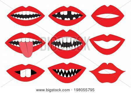 Lips mouth with teeth vector set. Photo booth accessory collection. Props retro party set