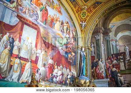 Rome Italy - March 11 2014: Vatican Museums the frescoes of the Immacolata hall