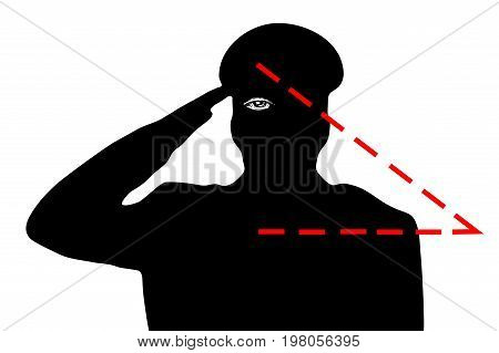 The military saluting. The hidden meaning of the gesture the all-seeing eye. New world order