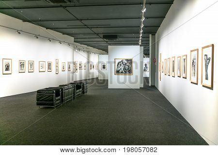 Rome Italy - March 12 2014: A photographic exhibition in the auditorium of the Parco Della musica